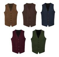 T2* Brown Burgundy Green Navy Blue Mens Wool Tweed Slim Fit Waistcoat