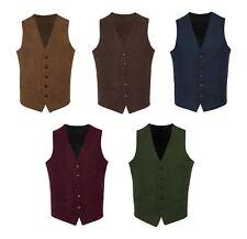 TW2 Brown Burgundy Green Navy Blue Mens Wool Tweed Slim Fit Waistcoat