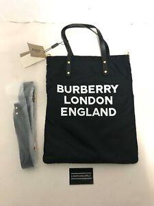BURBERRY Nylon London England Print Logo Flat Tote Black