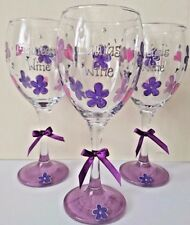 Personalised Wine Glass Hand Painted Birthday Godmother Christmas Secret Santa