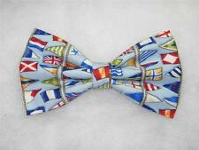 (1) PRE-TIED BOW TIE - NAUTICAL BUNTING - ROWS OF COLORFUL SIGNAL FLAGS ON BLUE