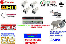 KIT VIDEOSORVEGLIANZA IP CLOUD DVR 8 CH 4 TELECAMERE AHD 3MP 48 LED + HALTA QUAL