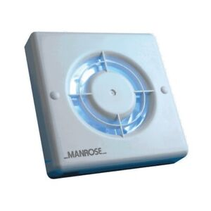 """Manrose Extractor Fan Toilet Bathroom Quiet 4"""" 100mm Axial Pullcord White"""