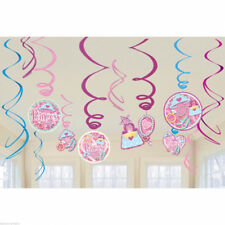 PRINCESS HANGING SWIRL DECORATIONS (12) ~ Birthday Party Supplies Foil Cutout