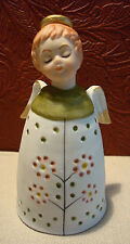 Vintage Schmid Brothers Bisque Ceramic Angel Bell Flowers Foil Tag Japan