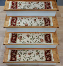 "Rug Depot 14 Floral Non Slip Carpet Stair Treads 31"" x 9"" Ivory - Poly"