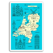 2 x 10cm Nederland Map Vinyl Stickers - Netherlands Travel Sticker Cool #17281
