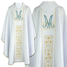 CHASUBLE White Damask MARIAN Gothic style vestment, embroidered