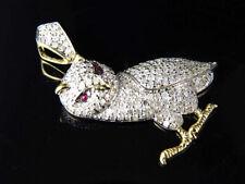 "New 10K Yellow Gold Genuine Red Diamond Iconic Owl Charm Pendant 1.25"" (1.25Ct)"