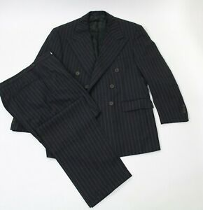 Ralph Lauren Purple Label Charcoal Stripe Double Breasted Suit England Sz 40