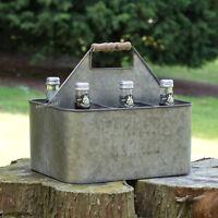 6 Bottle Crate Vintage Farmers Market Wooden Handle Milk Drinks Holder Caddy