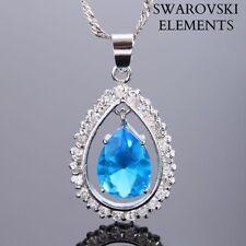 collier chaîne LUXE pendentif ovale amovible Swarovski® Elements BLEU TURQUOISE