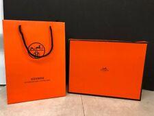 HERMES PARIS ORANGE EMPTY BOX & PAPER BAG 11 1/2 x 9 x 2 7/8 inches