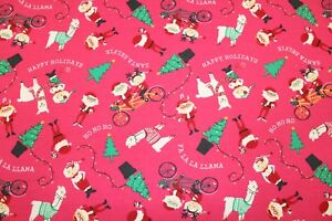 """Soft Brush 100% Flannel Cotton, Festive Funky Santa Pink, High Quality, 60"""" Wide"""