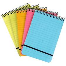 Note Pad A6 Spiral Multi-coloured Neon Ruled Notebook - Pack of 5, Chiltern Wove
