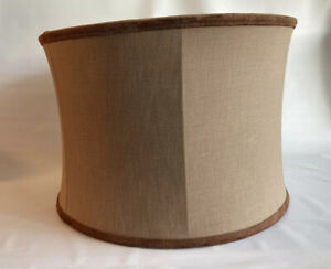 Handmade Fabric Lampshade Light Brown Herringbone LIning