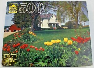 Spring Garden - Golden Guild 500pc Jigsaw Puzzle - Flowers, House, Trees
