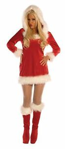 NOEL ADULT WOMENS COSTUME Hooded Mini Red Dress Sexy Plush Christmas Attire