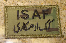 USAF PATCH ,ISAF,GREEN USAF BORDER,MULTI-CAM, SCORPION,WITH hook loop fastener