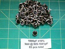 Capacitors Silver Mica Button 1000 pF 10 Vintage Feedthru Type Caps NOS