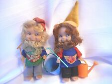 Pair of Vintage Gnome Dolls with Rakes & Tools - Gardeners - Blonde & Brunette