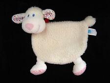 Doudou plat Mouton Agneau écru blanc bandana rouge fleurs Tex Baby Carrefour