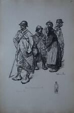 "STEINLEN (1859/1923) Litho WW1 - ""  AU CANTONNEMENT   "" -  Signé"