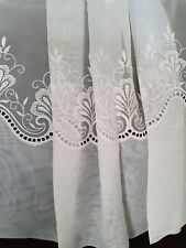 CLASSIC DESIGN VOILE WITH EMBROIDERED INSET MADE TO MEASURE NET CURTAINS WHITE