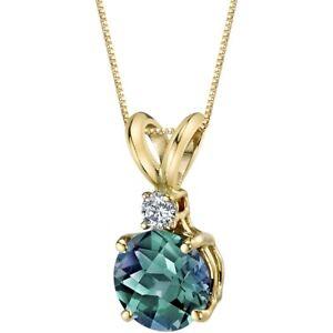 14 Kt Yellow Gold Round Cut 1.25 cts Created Alexandrite Diamond Pendant