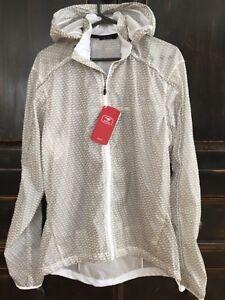 New HydroLite Men's sugoi cycling jacket gray white L large hooded windbreaker
