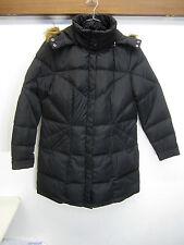 NWT Jessie G. Puffer Coat Down Fill mid length black w/fur ruff hood sz XL