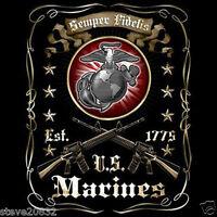 NEW USMC Est. 1775. Semper Fidelis. United States Marines T-shirt. tshirt Black