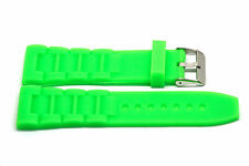 22MM BRIGHT GREEN SILICONE RUBBER LINK SPORT WATCH BAND FITS LUMINOX