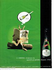 PUBLICITE ADVERTISING 096  2002  Kritter  vin mousseux brut  la chasse