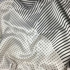 "Silk CHARMEUSE Fabric  Black & White Dots and Stripes 45"" by the yard"