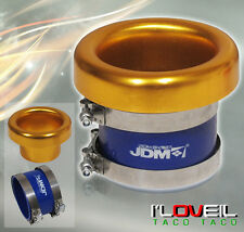 "3"" INLET JDM GOLD ALUMINUM TURBO AIR FLOW INTAKE VELOCITY STACK W/ COUPLER"