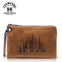 Men's Genuine Leather Forest Design Zipped Wallet Business Portfolio Brand New