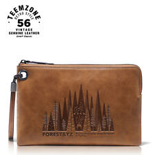 Teemzone Men's Forest Series Zipped Wallet Case Real Leather Business Portfolio