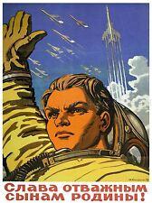 PROPAGANDA PILOT COSMONAUT PLANE ROCKET USSR LARGE POSTER ART PRINT BB2512A
