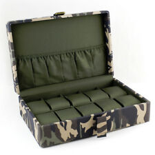 CAMOUFLAGE WATCH CASE BOX DOUBLE D RING BUCKLE HOLDS 10 WATCHES-NAVY GREEN