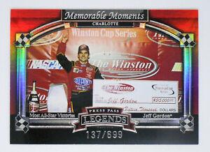 JEFF GORDON 2006 06 PRESS PASS LEGENDS MEMORABLE MOMENTS INSERT CARD 137/699