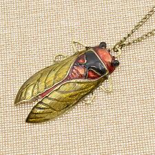 Insekt Zikade Halskette Anhänger Damen Herren Schmuck Geschenk Pullover Kette