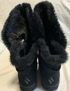 Skechers casual black suede outer faux fur lining winter boots size 7