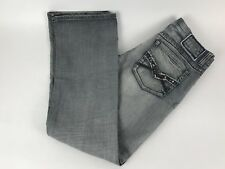 Helix Men's Jeans Relaxed Boot Cut Gray Wash Stud Pockets Size 30x32 EUC