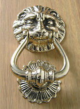 Door Knocker Italian Cast Brass Lion's Head Design in Polished Finish