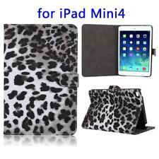 Flip Cover Folding Stand Case for Apple iPad Mini 4. Slim Holder Snow Leopard Print