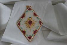 Scapulaire Reliquaire Tissu Peint Agnus Dei Cœur Jésus Image Pieuse Religion