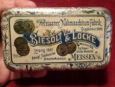 early 1900 ANTIQUE SEWING MACHINE BIESOLT LOCKE MEISSNER TIN BOX GERMANY GERMAN