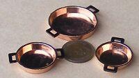1:12 Three Flat Copper Pans Dolls House Miniature Food Kitchen Accessory 714