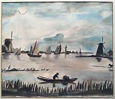 Original 1930 Watercolor PAINTING Seascape Fishing Boats Windmills IMPRESSIONISM
